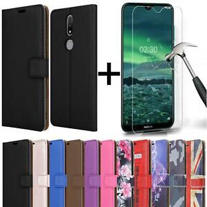 For Nokia 2.4 Case Leather Flip Wallet Stand Phone Cover + Screen Tempered Glass