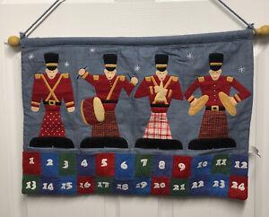 "VTG Blue Fabric Christmas Advent Calendar Drummer Boy Wall Hanging 16x26""  R"