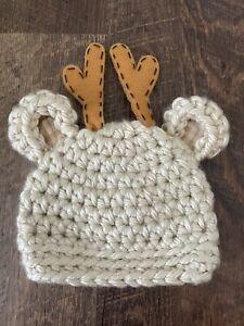 Reindeer Baby Hat / Hand Knit Beanie (0-3 Months)