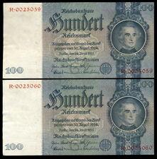 326-INDALO- Alemania, Germany. Pareja 100 Reichsmark 1935-G. Serie R. SC !!!!!!!