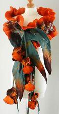 Felted Scarf Nunofelt 100% wool  Shawl -blossom-9