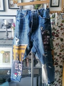 Free People Patchwork Harem Varsity Jeans  Sz 26 8  Rrp £188 new