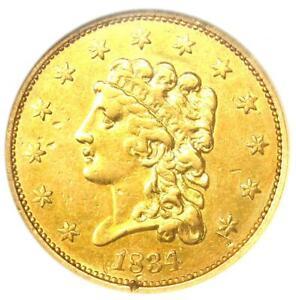 1834 Classic Gold Quarter Eagle $2.50 - Certified ANACS AU Details - Rare Coin!