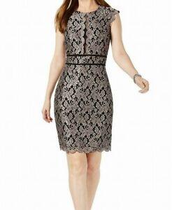 Nightway Womens Sheath Dress Black Size 8 Metallic Floral-Lace 2-Tone $109 504