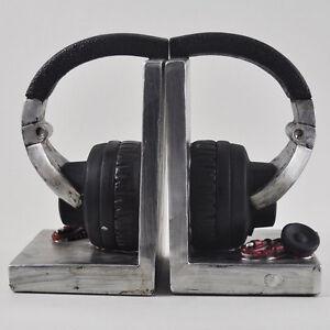 Vintage Headphones Bookends Music Shelf Organiser CD Office Study Heavy 12501