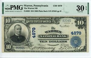 1902 PB $10 Warren, Pennsylvania Ch#4879 PMG 30 VF