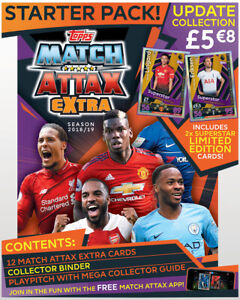 2018-19 TOPPS MATCH ATTAX EXTRA EPL STARTER PACK ALBUM 12 CARDS+2 LE CARDS