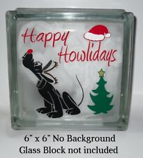 "Happy Howlidays Dog Christmas decal sticker for DIY 8"" glass block shadow box"