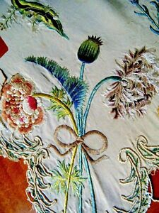 Antique late 18c French hand embroidered tapestry floral design silk panel