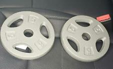 NEW (2) 5 LB Standard Weight Plates CAP (10 lbs Total) Silver Limited