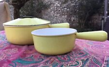 Set LE CREUSET Yellow Pots Retro French Lidded 16 And 22 Raymond Loewy