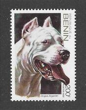 Dog Art Portrait Stamp Dogo Argentino Argentine Head Study Benin 2002 Mnh