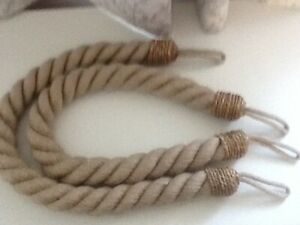 PAIROF HEAVY TWISTED ROPE CURTAIN TIE-BACKS  FAWN COLOUR