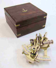 Solid Brass Small Sextant -Wooden Box - Nautical Navigation Collection - NEW