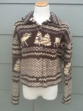 Women's Fleece Plush Cropped Jacket Sz M Elk Deer Tree Brown Beige Tapemeasure