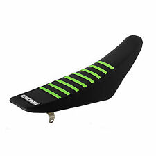 1999-2002 Kawasaki KX 125/250 Black / Green Ribs RIBBED SEAT COVER BY Enjoy Mfg