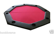 Pro Style Padded Octagon Folding Poker Table Top w/ Cup Holders and Bag Red NEW
