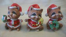 Vintage Set Of Three, Racoons Dressed As Santa Figurines by Homco #5611