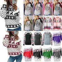 Womens Christmas Hoodie Sweatshirt Hooded Jumper Sweater Casual Pullover Tops AU