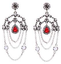 RED DIAMANTE CRYSTAL RHINESTONE Silver Chain Art Deco Chandelier Drop Earrings