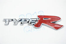 3D TYPE R TYPER Emblem Trunk Badge Decal Sticker Chrome + Red For Honda Acura x1