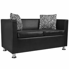 vidaXL Modern Sofa 2-Seater w/ 2 Pillows Black Artificial Leather Living Room