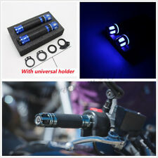One Pair CNC Universal 7/8'' Motorcycles ATVs Steering Light Handlebar Grip Blue