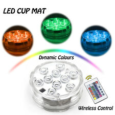 RGB LED Cup Mat Coaster With Remote for Mood Light Night Club Party Bar Decor