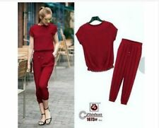 SHORT SLEEVE BLOUSE AND PANTS TERNO AG - MAROON