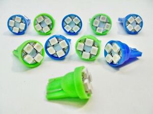 10x Buick Cad Olds Ponti Blue Green Turn Signal LEDs Dash Light Bulb Lamp 168