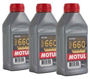 3 x Motul RBF660 100% Synthetic Performance Race Rally DOT 4 Brake Fluid - 500ml