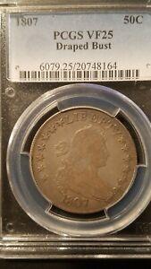 1807 Draped Bust Half Dollar * PCGS VF25 * Original Surfaces