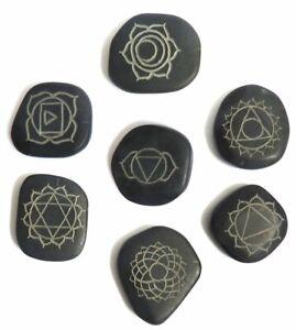 Seven Hot Massage Stones Set - Chakra Symbol Engravings Natural Healing Therapy