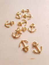 10 x Anker Anhänger zur Maritimen Schmuckherstellung ♥ Basteln Deko Charms Gold