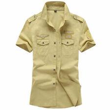 Military Mens Shirts Tactical Short Sleeve Bomber Shirts Army Casual Pilot Shirt