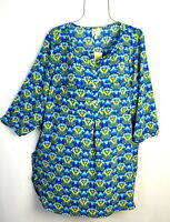 Fig & Flower Women's Blue Floral Print Boho Tunic Blouse Top Plus Size 1X NWT
