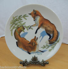 Halberts Inc 1977 Limited Edition Foxes and Evergreen Christmas Plate
