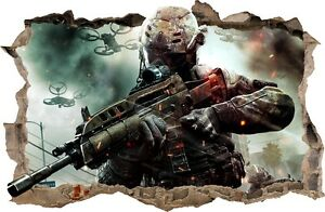 CALL OF DUTY WALL STICKERS HOLE IN THE WALL 3D Counter Strike soldier 69