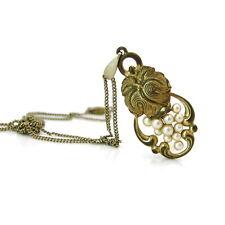 Vintage 1930s Art Deco Faux Pearl Grape Metalwork Leaf Pendant Necklace