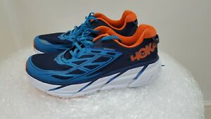 Hoka One One Clifton 3  Running Shoes Mens Medieval Blue/Red Orange Size UK 7.5