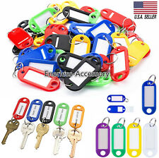 100X Plastic Key Tags Metal Ring Luggage Card Name Label Keychain W/ Split Rings