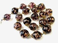 "VINTAGE HEAVY CASED GLASS BLACK PURPLE GOLDSTONE 15MM BEAD NECKLACE 17"" LONG"