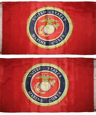 3X5 USMC Marine Corps RED Seal Crest Double Sided 2ply Flag Grommets