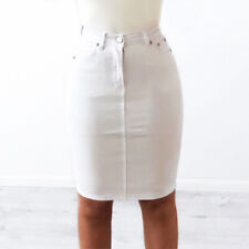 WAKEE MIDI DENIM SKIRT IN WHITE. SIZE 6-16.