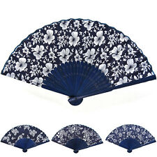 Classical Flower Fabric Hand Fan with Dyed Bamboo Frame Wedding Party Decoration