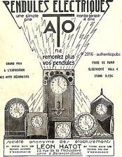 PUBLICITE ATO LEON HATOT PENDULES ELECTRIQUES REVEIL DE 1925 FRENCH AD PUB RARE