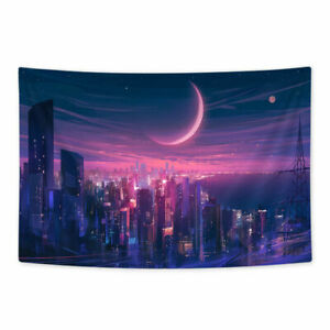 The City Under The Crescent Moon Tapestry Wall Hanging Home Decor 90x60cm