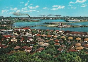 Alte Postkarte - View on Harbour with Shell-Oil Refinery - Curacao N.A.