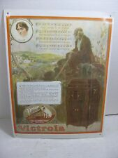 """Vicrola Record Player His Master Voice Embossed Tin Advertising Sign 18"""" x 14"""""""