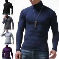 Men Modal Long Sleeve Turtle Polo Neck T-Shirt Thin Baselayer Base Tee Top Lot